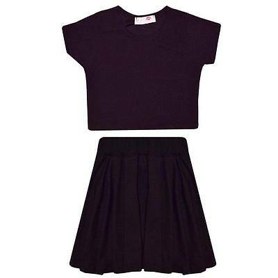 Childrens Girls Kids New Black Skater Skirt Crop Top Age 7 8 9 10 11 12 13 Years