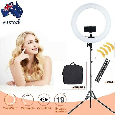 "AU ES240 18"" 5500K Dimmable LED Adjustable Ring Light with Diffuser, light stand"
