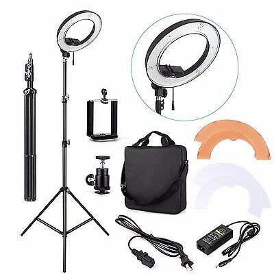 """AU ES180 LED 13"""" 180pcs 36W 5500K Dimmable Ring Light, Diffuser, Light Stand"""