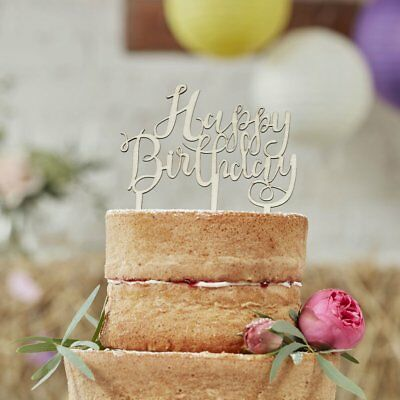 Boho Happy Birthday Wooden Cake Topper Script Font - Party