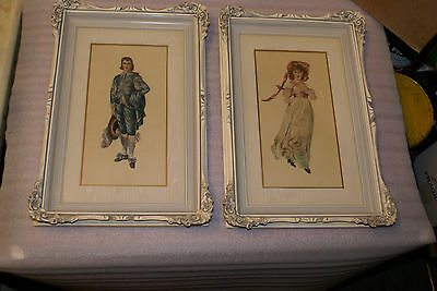 Vintage Petit Needle Point Blue Boy and Pink Girl Framed Pictures Ornate Frame