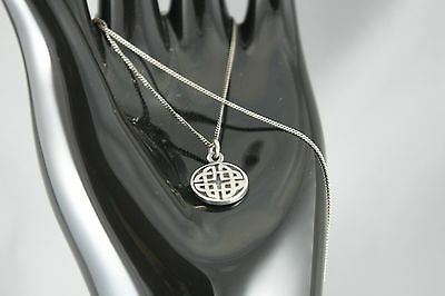 Vintage Silver Celtic Knot Pendant Necklace with 18 inch Sterling Chain
