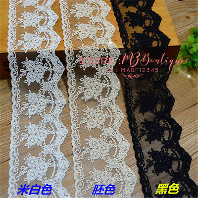 1 yard Delicate Embroidered flower Cotton tulle lace trim Sewing Dress DIY FP144