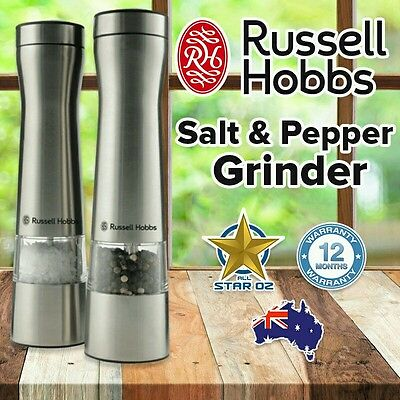 Salt Pepper Grinder Electric Automatic Mill Set Battery Operated Stainless Steel