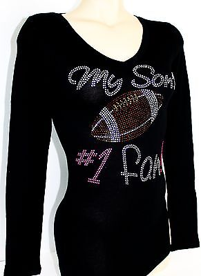RHINESTONE MY GRANDSON S # 1 FAN  FOOTBALL  JUNIOR SHEER V NECK SHIRT NEW