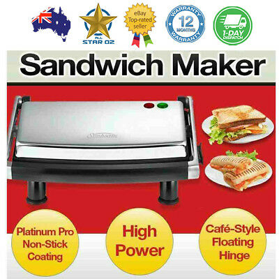Sandwich Press Maker Non Stick Grill Toaster Gourmet Snack Toasted Wrap Sunbeam