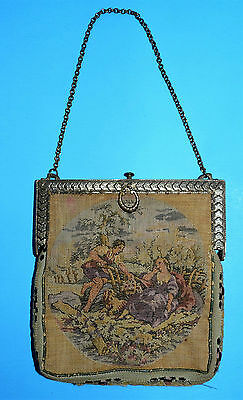 Small Antique Vintage Victorian Tapestry Purse ~ Made in France and Belgium