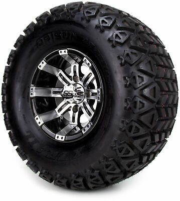 "Golf Cart Wheels and Tires Combo - 10"" Madjax Octane Machine/Black - Set of 4"