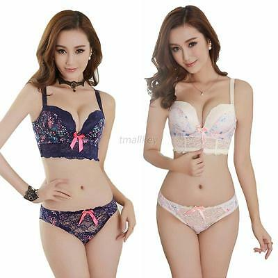 Sexy Women Lace Underwear Push Up Padded Bra Sets & Panty 32/34/36 B Cup