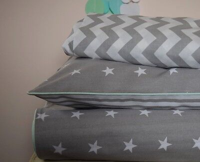 100%COTTON Cot Bed Duvet Cover Set & Fitted Sheet Grey Stars Stripes mint piping