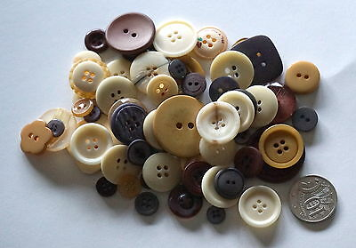 Earthy Shade Buttons - 50 Mixed Pack - Scrapbooking Craft Sewing Patchwork