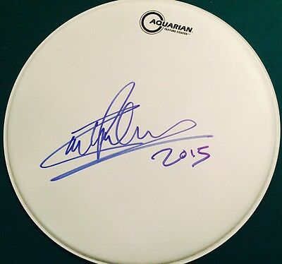 Carl Palmer ASIA Emerson Lake & Palmer Signed Autographed White DRUMHEAD