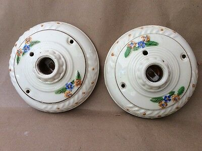 Vintage Pair of Flowered Porcelier Electric Ceiling Fixtures