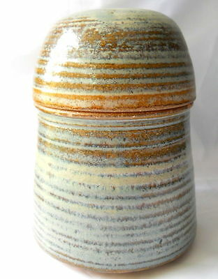 Pottery Vase with Lid Ridged Inside DH Marked Gray Blue Brown Striped Glazed