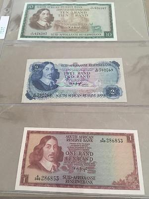 South Africa Set of 3 crisp AU / UNC T.W. DeJongh banknotes