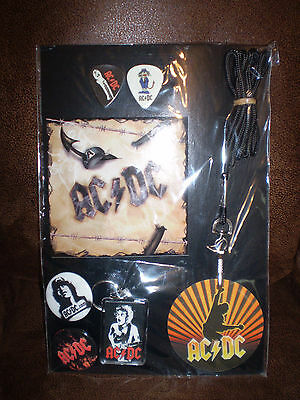 AC/DC Novelty Set Pin backs, Keychain, Lanyard Guitar Picks ROCK Dirty Deeds TNT