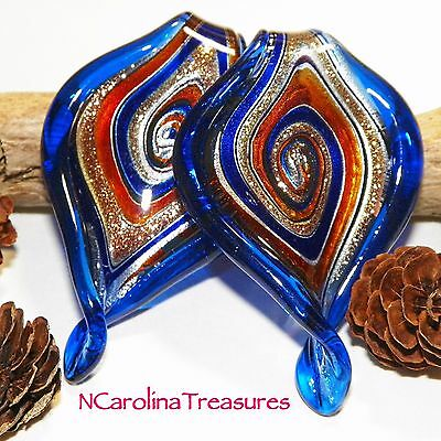 Blue Red Leaf Leaves Murano Art Glass Ceiling Fan Light Pull Pair Large  L112