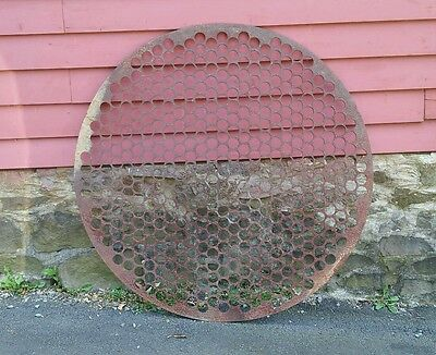 "Large Vintage Industrial 62"" Round Iron Sculpture Garden Steampunk Architectural"