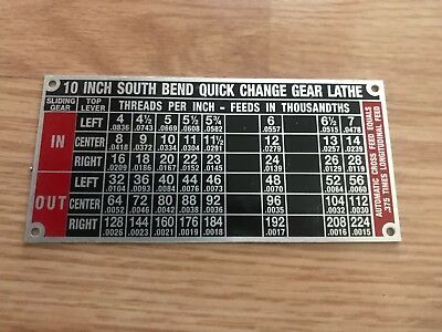 South Bend Lathe Reproduction Name Plates Heavy 10 Single Gearbox
