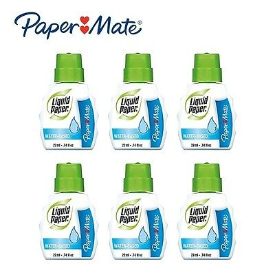 Paper Mate Liquid Paper Low Odor Water-Based Correction Fluid, White, Pack of 6