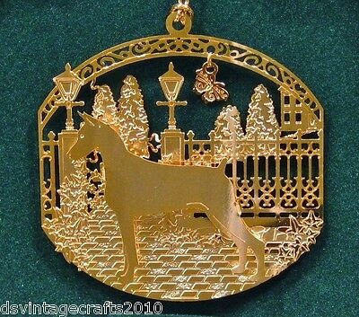 Doberman Pinscher 24k Gold Plated Ornament New By Kingsheart Forge