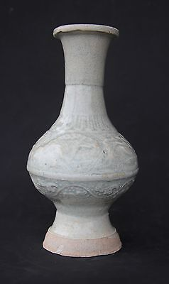 A Rare Yuan Qingbai Vase With Moulded Floral Decoration