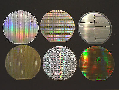 """6"""" silicon wafer - Set of six American made wafers by TI, AMD, Maxim, AMI, etc."""