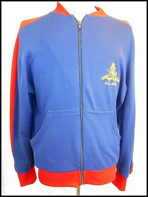 Vintage 70s 80s Blue Red Nylon/Cotton RAA Band Zip-Up Training Jacket 95cm