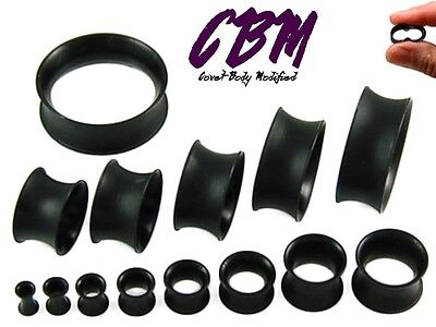 Pair 8g - 40mm Black Silicone Plugs Tunnels Thin EarSkin Flesh Gauges