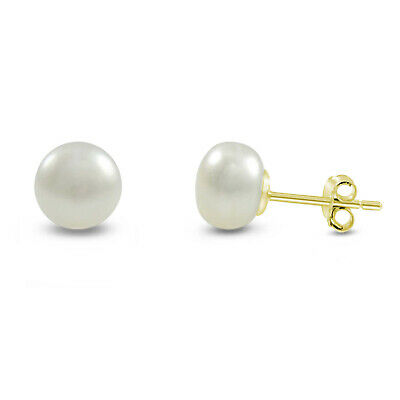 Genuine 10k Gold Natural 8mm Freshwater Pearl Stud Earrings - Choose Your Color