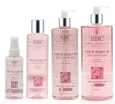 SBC Rose and Argan Oil Bath & Shower Gel for delicate care, choose your size
