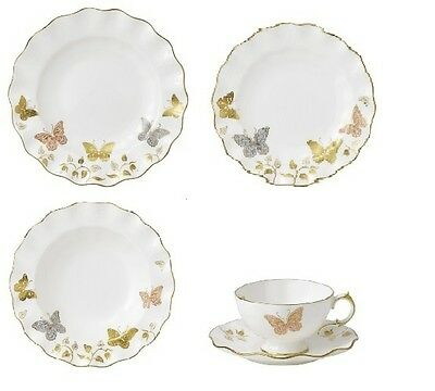 New Royal Crown Derby 2nd Quality Butterfly 30 Piece Dinner Service (Set 2)