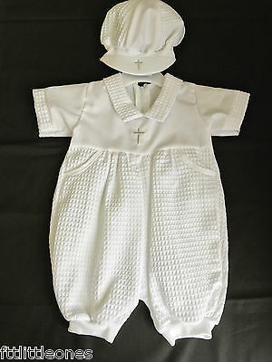 Baby Boys White Christening Romper Outfit Suit With Cap   Baptism Waffle & Cross