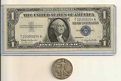 90% Silver $.50 face Walking Liberty Half & 1935 or 1957 Silver Certificate Lot