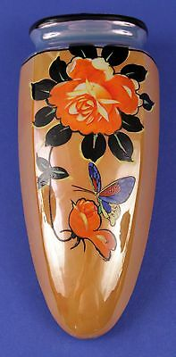 1930's Luster Ware Hand Painted Roses & Butterfly Wall Pocket - Japan