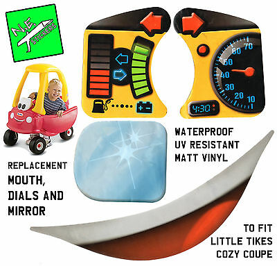 Replacement Little Tikes cozy coupe stickers dials, mirror + mouth fits car toy