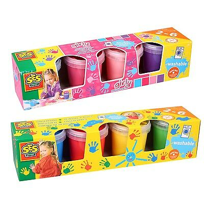 SES 8er-Set FINGERFARBEN GIRLY und COLOR auswaschbare Fingermalfarben