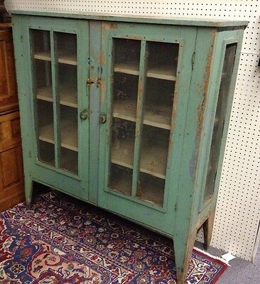 Antique Primitive Pie Safe Southern Style Screen Panels Early Green Paint