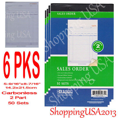 6 X Sales Order Book Receipt Invoice Form 50 Set 2 Parts Duplicate Carbonless