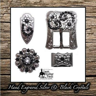 Hand Engraved German Silver & Black Crystal Buckle Set For Western Headstall