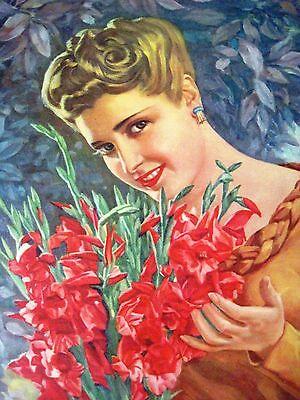 """Vintage Mexican Art Print by A. Gomez R. Titled """"Jardineras"""" w/ Lady & Flowers *"""