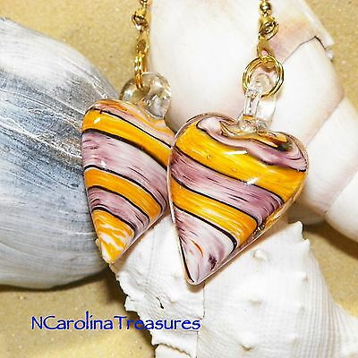 Gold Violet Stripe Heart Hearts Glass Ceiling Fan Switch Pull Pulls Lg Pair H398