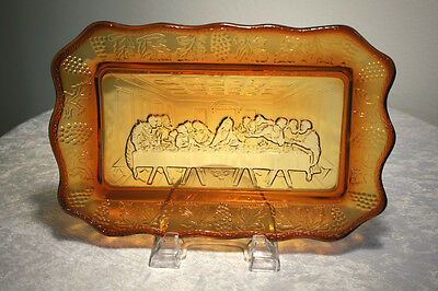"""Vintage 11"""" Indiana Glass Tiara Amber Lord's Supper Tray Plate"""