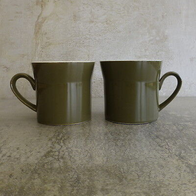 2 x Vintage Crown Lynn Tea cups Made in New Zealand Olive Green and white
