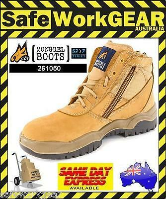 Mongrel Safety Work Boots (261050) Low Cut Wheat Steel Cap Lace Up  Zip Up Side