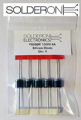 5pcs P600M 1000V 6A Silicon Rectifier Diode - P600 Package