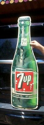 Vintage Rare 1960s Early 7UP Tall Vertical Metal Soda Pop Bottle Sign 44x13 7 UP
