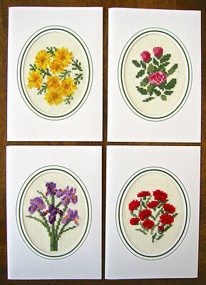 4 embroidered HAND MADE aida CROSS STITCH flowers CARDS envelopes IRIS rose