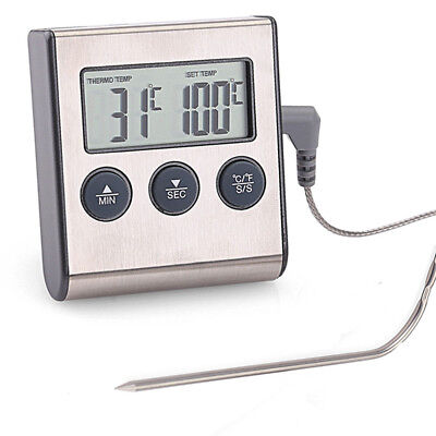 Funk Grillthermometer BBQ Grill Thermometer Digital mit Fühler Bratenthermometer