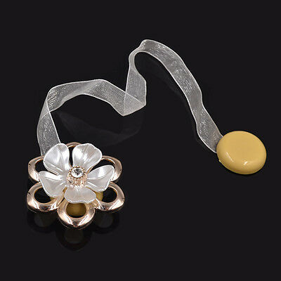 1 Pc Curtain Tieback Magnetic Ribbon Clips Drapery Holder Flower Shape Buckle